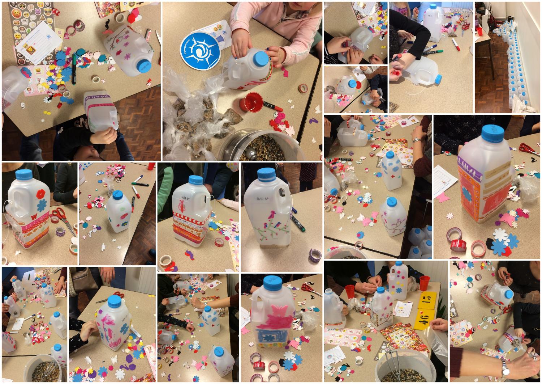 Melkfles vogelvoederhuisje – Milk bottle birdfeeder